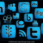154 Blue Chrome Rain Social Media Icons