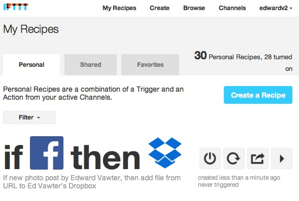 IFTTT new recipe